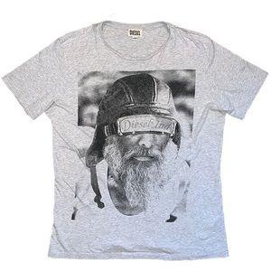 Diesel Industry Grey Designer Motorcycle Tee Shirt